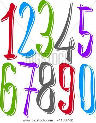 Calligraphic hand drawn numbers, colorful cursive numeration.