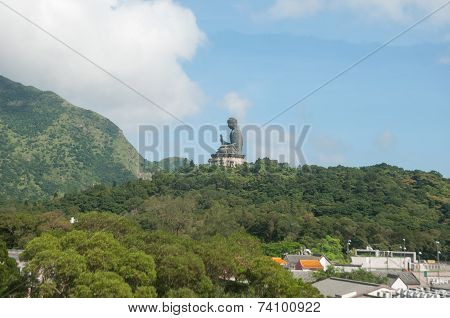 Hongkong-July 4: Tian Tan Buddha or Giant buddha on Lantau Islandthe biggest sitting Buddha statue b