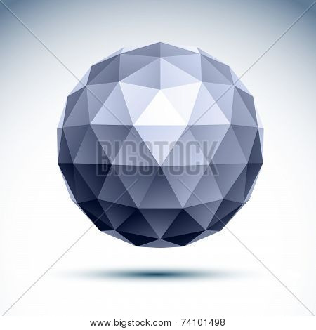 Abstract 3D geometric spherical grayscale object created from triangles