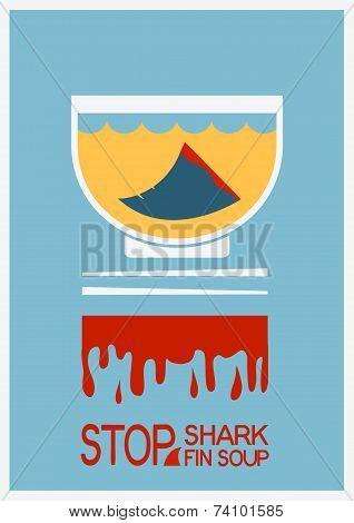 No Shark Finning Soup.vector Poster Illustration