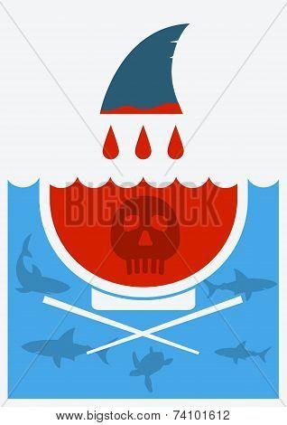 Stop Shark Finning Soup.vector Illustration