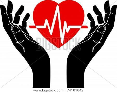 Hand with heart and cardiogram symbol. Health and medicine.