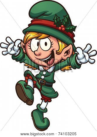 Happy Christmas Elf. Vector clip art illustration with simple gradients. All in a single layer.