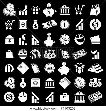 Money icons set, finance theme simplistic symbols collections.