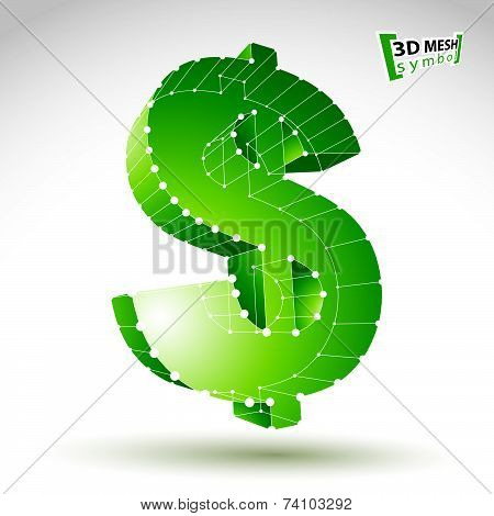 3d mesh stylish web green dollar sign isolated on white background, colorful elegant carcass currenc