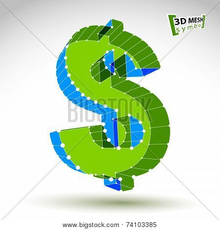 3d mesh stylish web green dollar sign isolated on white background, colorful