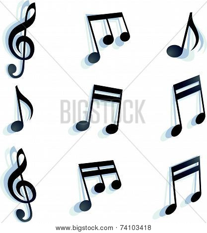 black monochromatic musical notes and symbols isolated on white background.