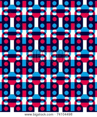 Polka Dot Seamless Pattern With Geometric Figures, Colorful Infinite Squared Mosaic Textile