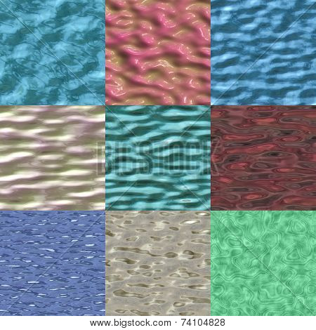 Set Of Liquid Surface Seamless Generated Textures