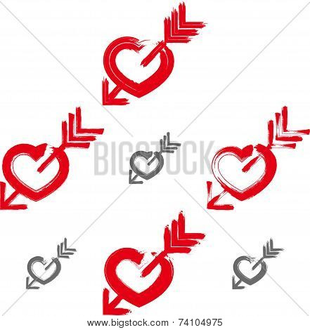 Set of hand-drawn red love heart icons, collection of brush drawing loving heart signs with Cupid's