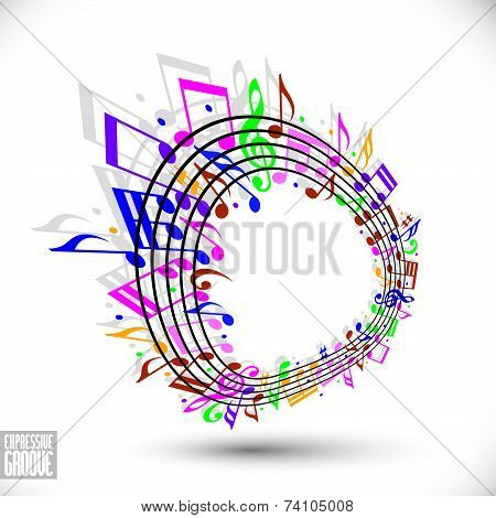 Expressive groove concept. Colorful music background with clef and notes,