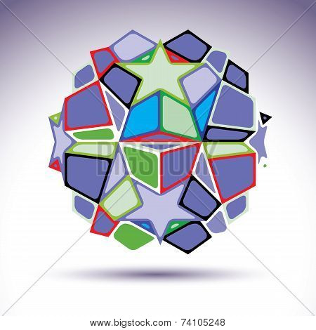 Complicated Kaleidoscope 3D Sphere Constructed From Colorful Geometric Elements, Abstract
