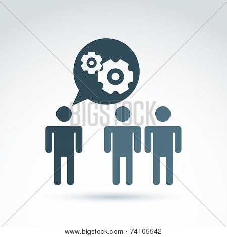Illustration Of Gears - Enterprise System Theme, Organization Strategy Concept. Cog-wheels