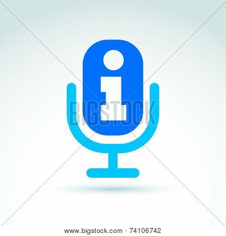Performance icon with information sign. Vector illustration of blue microphone, broadcast icon.