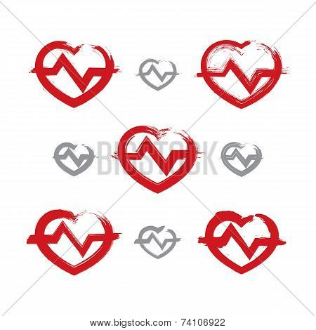 Set Of Hand-drawn Red Heart Icons, Collection Of Brush Drawing Heart Signs With Electrocardiogram, O