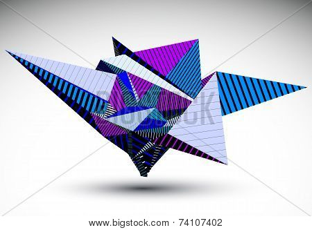 Cybernetic Polygonal Contrast Element Constructed From Simple Geometric Figures. Purple