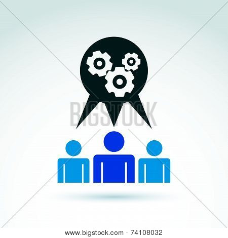 Gears and cogs working team system theme icon, dialogue and message,