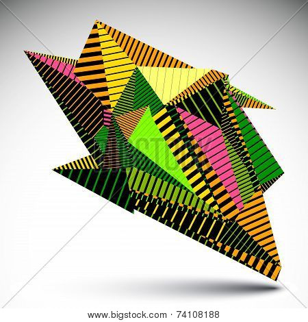 Bright Complicated Contrast Eps8 Figure Constructed From Triangles With Parallel Lines. Colorful