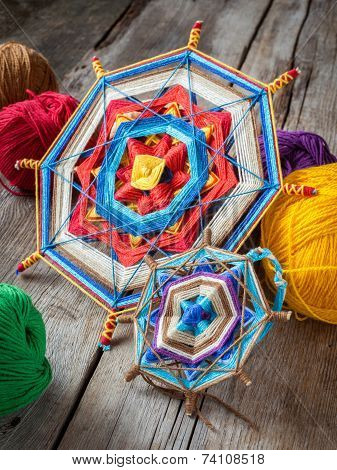 Two Knitted Tibetan Mandala From Threads And Yarn, Selective Focus