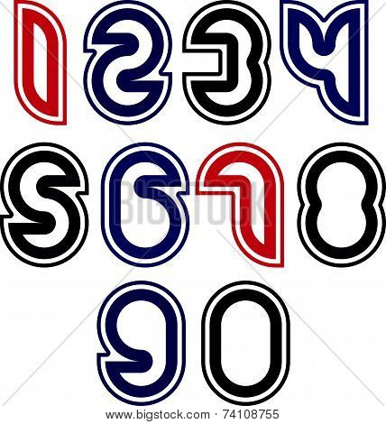 Stylish unusual rounded numbers, colorful extraordinary numeration isolated on white background.