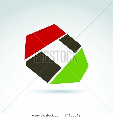 Bright complex geometric corporate element created from separate parts. 3d abstract emblem.