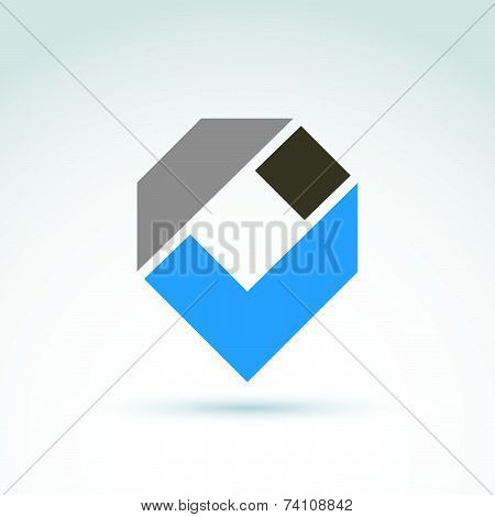 Vector abstract corporate design element. Geometric symbol, blue checkmark, infographics icon.