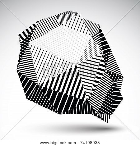 Deformed Asymmetric Single Color Element With Parallel Lines. Striped Abstract Vector Object