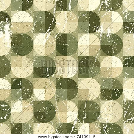Geometric Spherical Seamless Pattern, Vintage Ornamental Abstract Background.