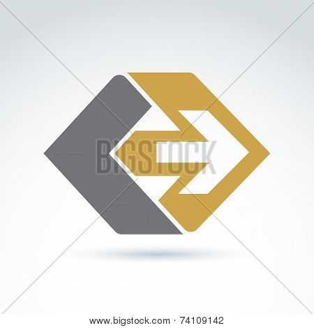 Vector Abstract Emblem With Yellow Arrow - Right, Direction Sign, Pointer. Forward Symbol.