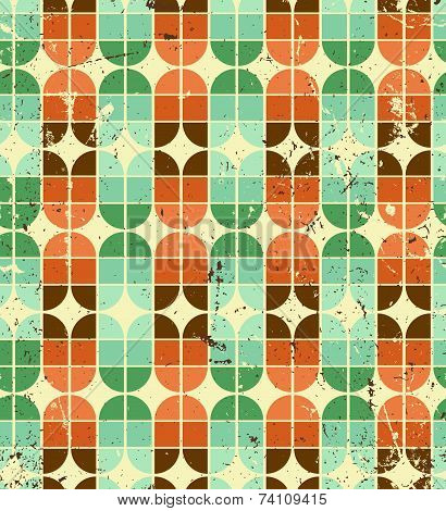 Vintage bright geometric seamless pattern, elliptic abstract background.