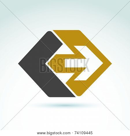 Vector abstract emblem with yellow arrow