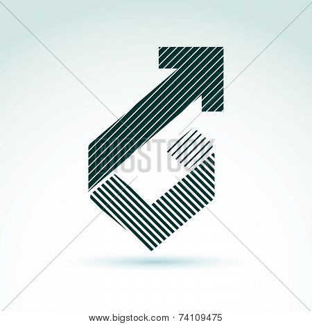Geometric abstract symbol with arrow, graphic design element, icon.