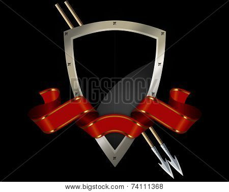 Medieval Shield And Spears.
