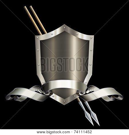 Abstract Shield And Ribbon.