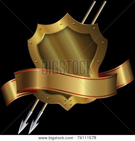 Medieval Gold Shield With Two Spears And Ribbon.