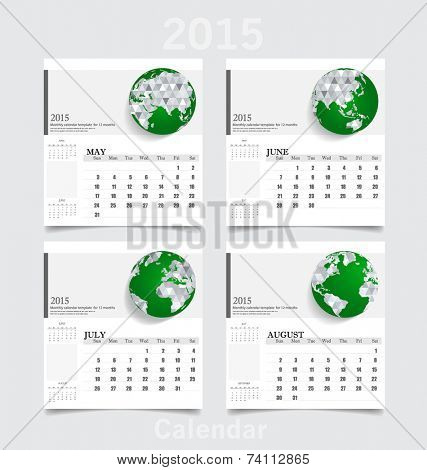 Simple 2015 year calendar (May, June, July, August). Vector illustration.