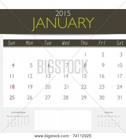 2015 calendar, monthly calendar template for January. Vector illustration.