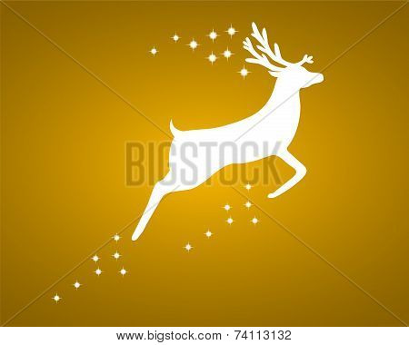 Reindeer with stars on gold background