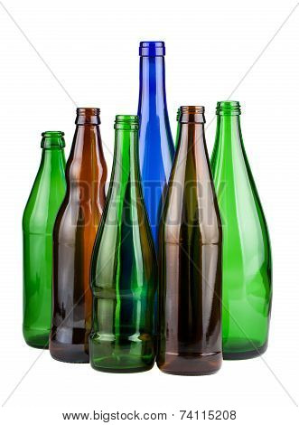 Six Empty Unlabeled Bottles