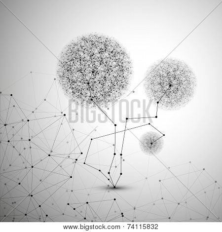 Flower in the shape of molecular structure, gray background for communication, vector illustration