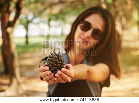 Woman Showing A Fir Cone