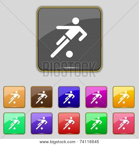 football player icon. Flat modern Set colourful web buttons. Vector