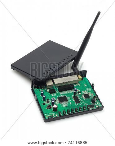 Wireless Modem Exposing Internal Components On White Background