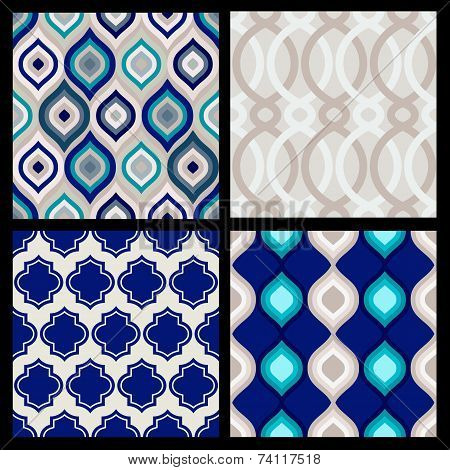 Set Of Seamless Patterns. Abstract  Geometric Wallpaper. Vector Illustration