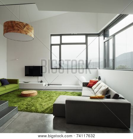 Interior of modern villa, living room