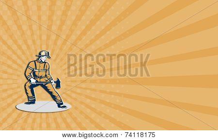 Business Card Fireman Firefighter Standing Holding Fire Axe