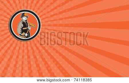 Business Card Fireman Firefighter Holding Fire Axe Circle