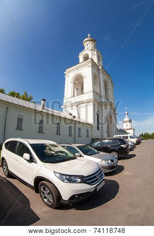 Novgorod, Russia - July 23, 2014: St. George's (yuriev) Monastery In Veliky Novgorod, Russia. St. Ge