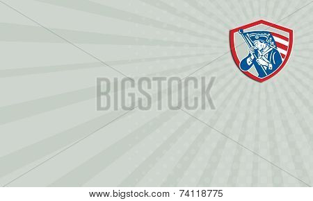 Business Card American Patriot Soldier Waving Flag Shield