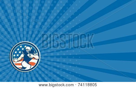 Business Card American Football Running Back Fending Circle